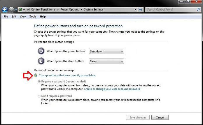 disable required password on wakeup in windows 7