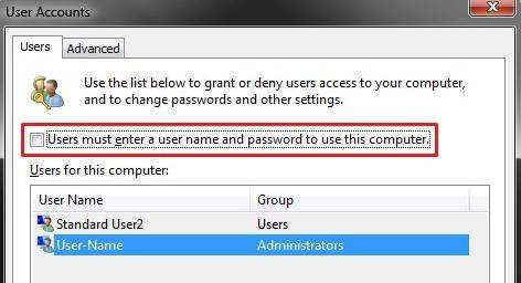 auto login in windows 7