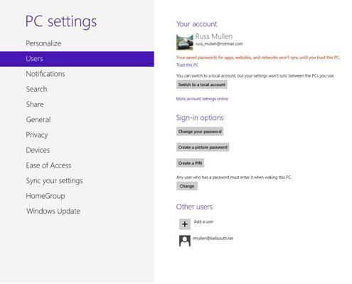 how to create a password in windows 8