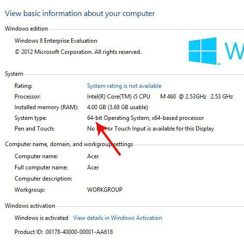 tell if you have windows 8 64-bit or 32-bit
