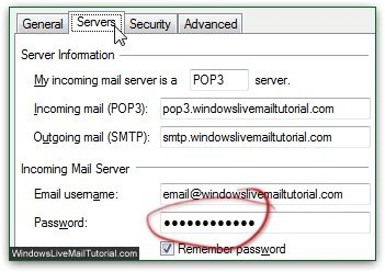 change windows live mail password