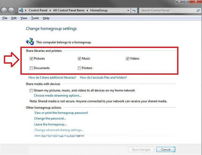 change windows 7 homegroup sharing file and folder settings