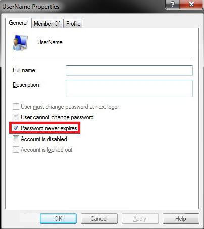 how to disable password expiration in windows 7