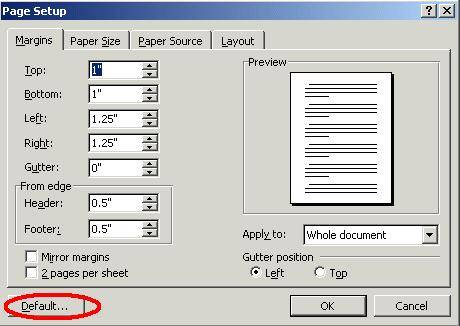 set the default font in word 2003