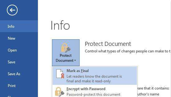 protect document in word 2013 document