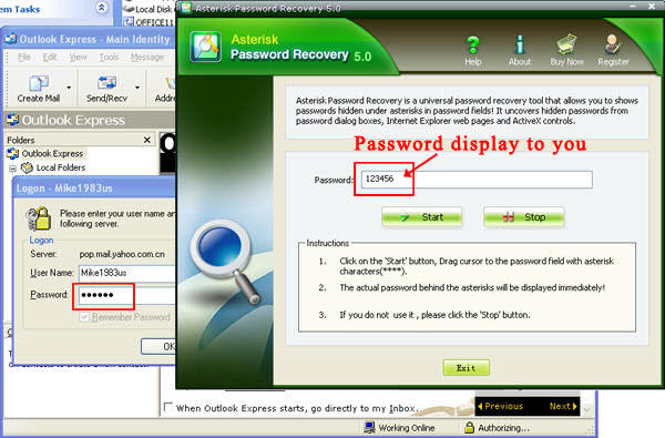 show asterisk password