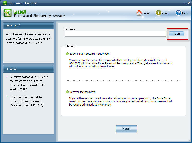 Password recovery for MS Excel 2007