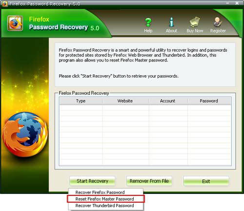 reset firefox master password