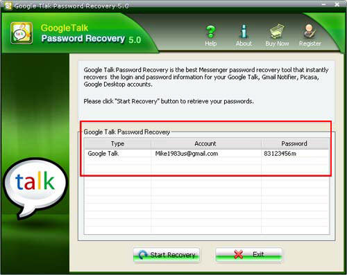 Show Google Talk Password