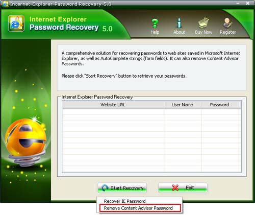 Remove Content Advisor password