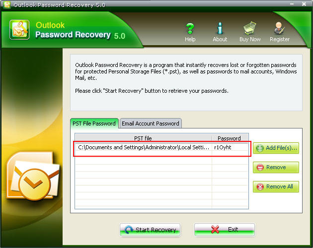 microsoft outlook password recovery