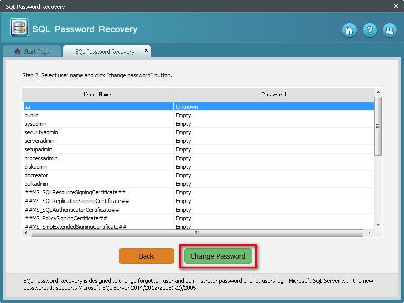 how to change sql password