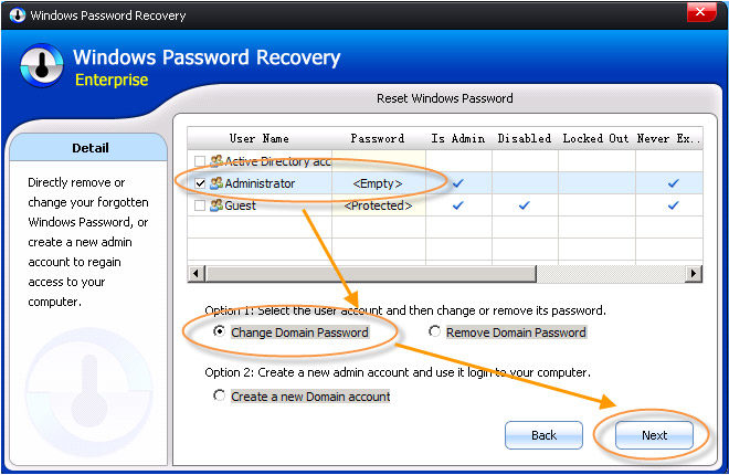 change domain admin password in Windows Server 2008 R2