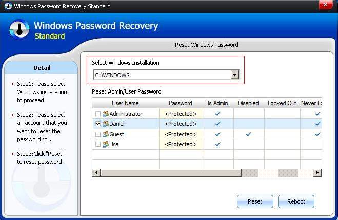 reset startup windows password