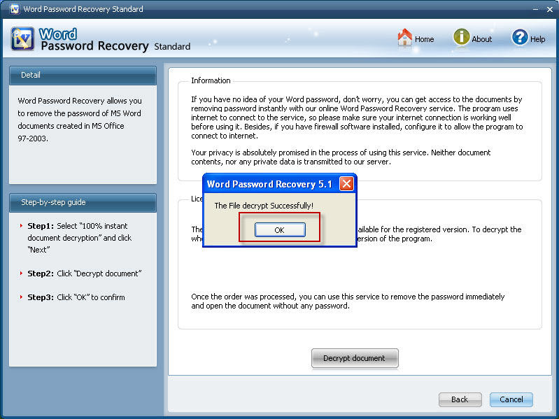 MS Word 2007 password recovery online