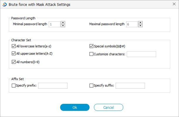 brute force with mask attack settings