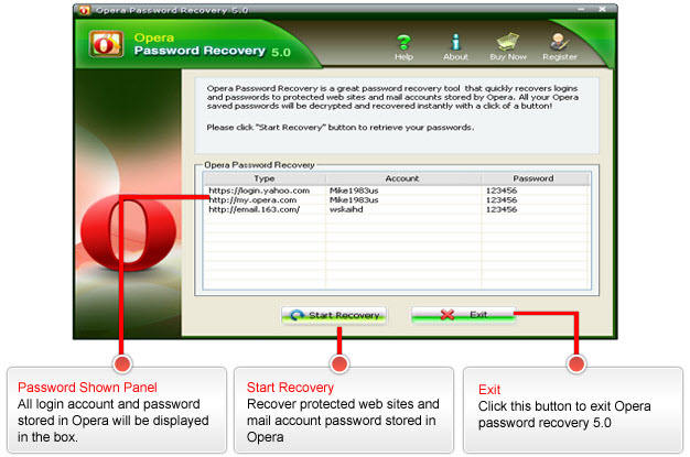 Opera Password Recovery Screenshots